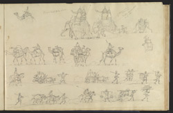 Sketches of the line of march with elephants, camels, hackeries, horsemen and coolies, etc.